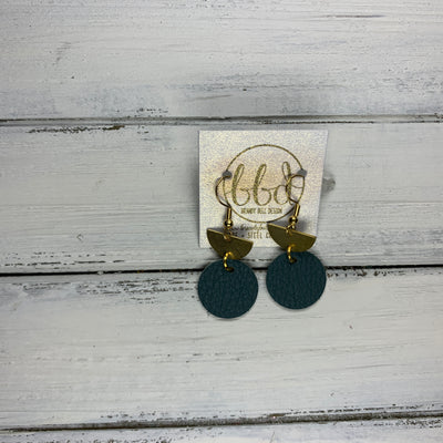 SUEDE + STEEL *Limited Edition* COLLECTION || Leather Earrings ||<BR> TINY GOLD HALF CIRCLE, <BR> MATTE DARK FOREST GREEN