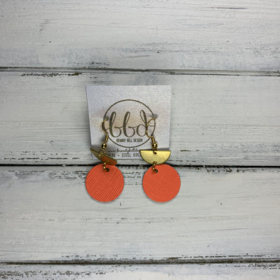SUEDE + STEEL *Limited Edition* COLLECTION ||Leather Earrings || <BR> TINY GOLD HALF CIRCLE, <BR> MATTE NEON ORANGE