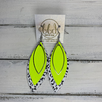 SUEDE + STEEL *Limited Edition* COLLECTION || Leather Earrings ||SILVER MARQUISE, <BR> NEON YELLOW, <BR> BLACK & WHITE CHEETAH