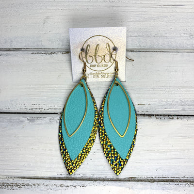 SUEDE + STEEL *Limited Edition* COLLECTION || Leather Earrings ||GOLD MARQUISE, <BR> ROBINS EGG BLUE, <BR> GOLD & AQUA DRIPS