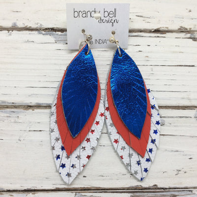 INDIA - Leather Earrings  || METALLIC ELECTRIC BLUE, MATTE RED, WHITE WITH METALLIC STARS