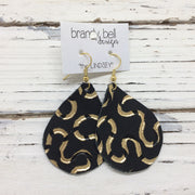 ZOEY - Leather Earrings || MATTE BLACK WITH METALLIC GOLD SWIRLS