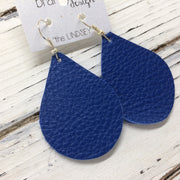 ZOEY (3 sizes available!) - Leather Earrings  || MATTE COLBALT BLUE