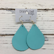 ZOEY (3 sizes available!) - Leather Earrings  ||  MATTE AQUA