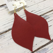 NOELLE - Leather Earrings  || MATTE RED