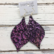 NOELLE - Leather Earrings  || METALLIC IRIDESECNT PURPLE/GREEN