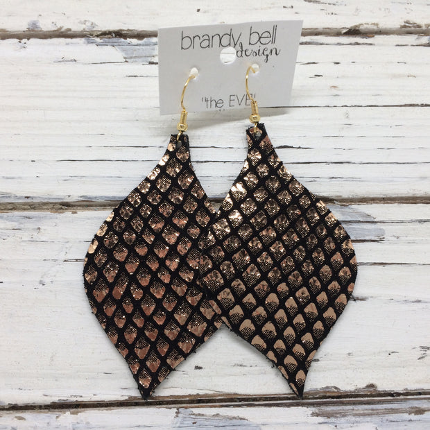 NOELLE - Leather Earrings || BLACK WITH METALLIC ROSE GOLD MERMAID