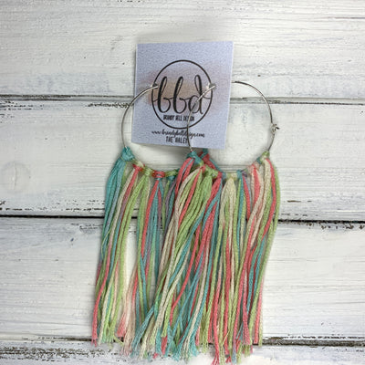HALEY- Tassel Hoop Earrings <BR> AQUA/CORAL/GREEN OMBRE  TASSEL FRINGE (BB4501)