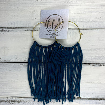 HALEY- Tassel Hoop Earrings <BR> DARK TEAL  TASSEL FRINGE (BB3808)