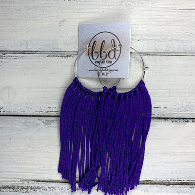 HALEY- Tassel Hoop Earrings <BR> BRIGHT PURPLE/BLUE TEAL TASSEL FRINGE (BB333)