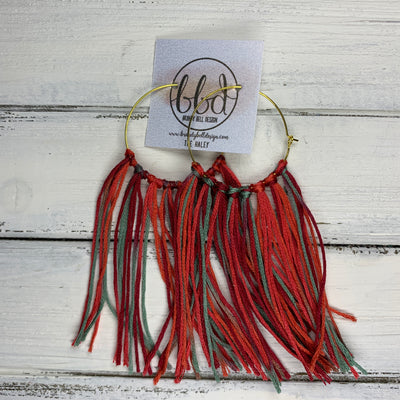 HALEY- Tassel Hoop Earrings <BR> ORANGE/GREEN/RED OMBRE TASSEL FRINGE (BB4517)