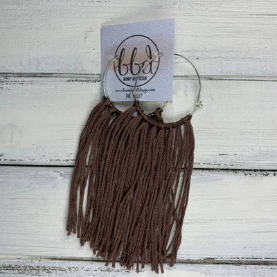 HALEY- Tassel Hoop Earrings <BR> CHOCOLATE TASSEL FRINGE (BB779)