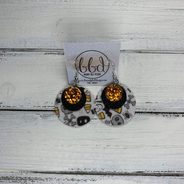 GRAY - Leather Earrings  ||    <BR> ORANGE GLITTER (FAUX LEATHER), <BR> SHIMMER BLACK,  <BR> HALLOWEEN PRINT (FAUX LEATHER)