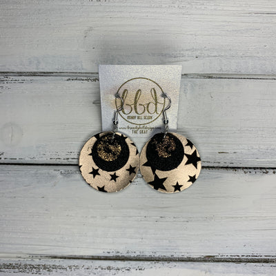 GRAY - Leather Earrings  ||    <BR> ROSE GOLD & BLACK NORTHERN LIGHTS, <BR> SHIMMER BLACK,  <BR> ROSE GOLD WITH BLACK STARS (FAUX LEATHER)