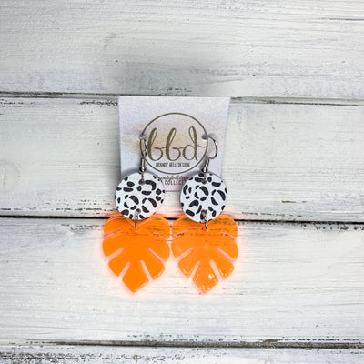 LIMITED EDITION PALM COLLECTION -  Leather Earrings  ||  <BR>  BLACK & WHITE CHEETAH, <BR> NEON ORANGE PALM LEAF