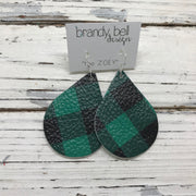 ZOEY (3 sizes available!) -  Leather Earrings  ||  BLACK AND GREEN BUFFALO PLAID