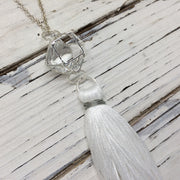 TASSEL NECKLACE - CAROLINA  || WHITE TASSEL WITH SILVER CAGE WITH ENCLOSED GEM