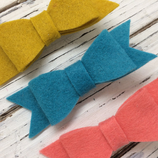 NORA FELT BOW- 3 Pack Felt bows || MUSTARD, PEACOCK, CORAL