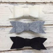 NORA FELT BOW- 3 Pack Felt bows || WHITE, SMOKE, BLACK