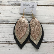 GINGER - Leather Earrings  ||  METALLIC ROSE GOLD PEBBLED, METALLIC CHAMPAGNE CRACKLE, MATTE BLACK
