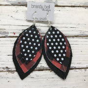 GINGER - Leather Earrings  ||  BLACK WITH WHITE POLKADOTS, RED & BLACK BUFFALO PLAID, MATTE BLACK