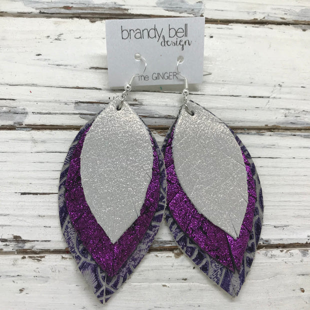 GINGER - Leather Earrings  ||  SHIMMER SILVER, SHIMMER FUCHSIA, PURPLE WESTERN