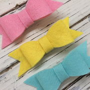 NORA FELT BOW- 3 Pack Felt bows ||  COTTON CANDY, LEMONADE, AQUA