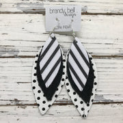 INDIA - Leather Earrings  ||   BLACK & WHITE POLKADOTS, SHIMMER BLACK, WHITE & BLACK STRIPES