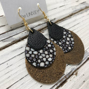 LINDSEY - Leather Earrings ||  MATTE BLACK, BLACK STINGRAY, PEARLIZED BROWN WITH GOLD ACCENTS