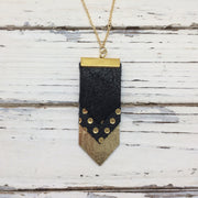 ARIA - Leather Necklace  || SHIMMER BLACK, BLACK WTH METALLIC GOLD POLKA DOTS, METALLIC GOLD