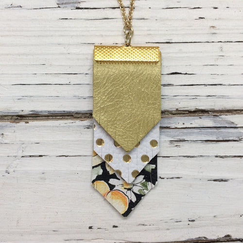 ARIA - Leather Necklace  || PEARLIZED OCHRE, WHITE WITH METALLIC GOLD POLKA DOTS, FLORAL WITH BLACK BACKGROUND