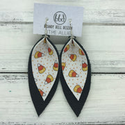 ALLIE -  Leather Earrings  ||  <BR> CANDY CORN (FAUX LEATHER), <BR> MATTE BLACK