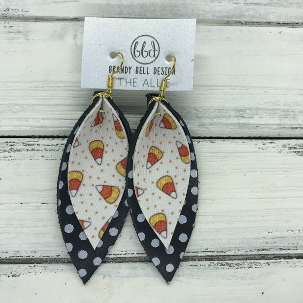 ALLIE -  Leather Earrings  ||  <BR> CANDY CORN (FAUX LEATHER), <BR> BLACK WITH WHITE POLKADOTS