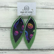 ALLIE -  Leather Earrings  ||  <BR> MULTICOLOR SPOOKY ON BLACK, <BR> SHIMMER GREEN