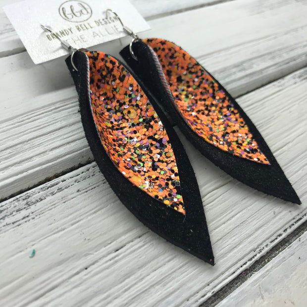 ALLIE -  Leather Earrings  ||  <BR> BRIGHT ORANGE HALLOWEEN GLITTER (NOT REAL LEATHER), <BR> SHIMMER BLACK