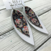 ALLIE -  Leather Earrings  ||  <BR> SUGAR SKULLS (FAUX LEATHER), <BR> MATTE WHITE