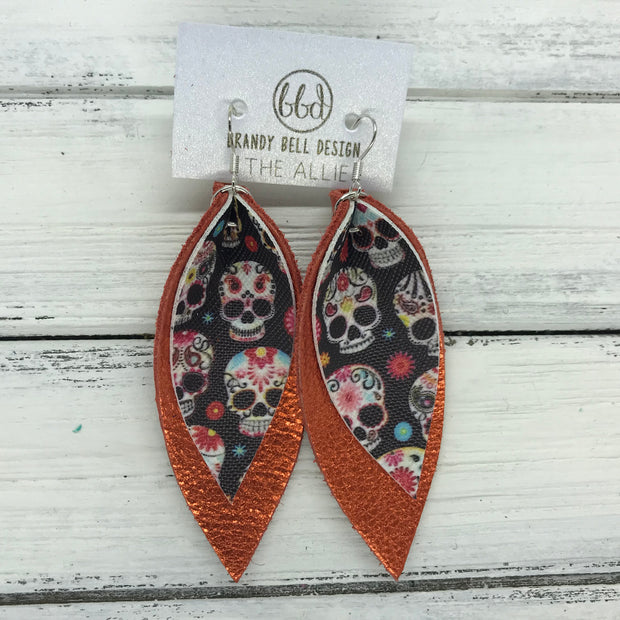 ALLIE -  Leather Earrings  ||  <BR> SUGAR SKULLS (FAUX LEATHER), <BR> METALLIC ORANGE PEBBLED
