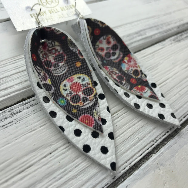 ALLIE -  Leather Earrings  ||  <BR> SUGAR SKULLS (FAUX LEATHER), <BR> WHITE WITH BLACK POLKADOTS