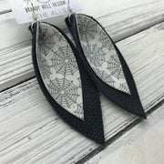 ALLIE -  Leather Earrings  ||  <BR> GLITTER SPIDER WEBS (FAUX LEATHER), <BR> MATTE BLACK