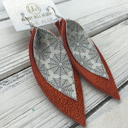 ALLIE -  Leather Earrings  ||  <BR> GLITTER SPIDER WEBS (FAUX LEATHER), <BR> METALLIC ORANGE PEBBLED