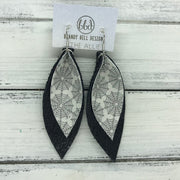 ALLIE -  Leather Earrings  ||  <BR> GLITTER SPIDER WEBS (FAUX LEATHER), <BR> BLACK BARK