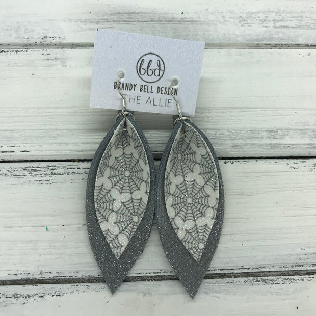 ALLIE -  Leather Earrings  ||  <BR> GLITTER SPIDER WEBS (FAUX LEATHER), <BR> SHIMMER GRAY