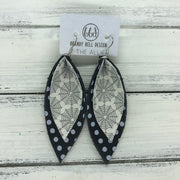 ALLIE -  Leather Earrings  ||  <BR> GLITTER SPIDER WEBS (FAUX LEATHER), <BR> BLACK WITH WHITE POLKADOTS