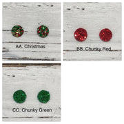 Poppy- 3 PACK (Choose your colors) - Glitter Stud Earrings SHOWN: D: SILVER, AA. CHRISTMAS, C: GOLD