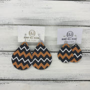 ZOEY (3 sizes available!) -  Leather Earrings  ||   BLACK/WHITE/ORANGE CHEVRON