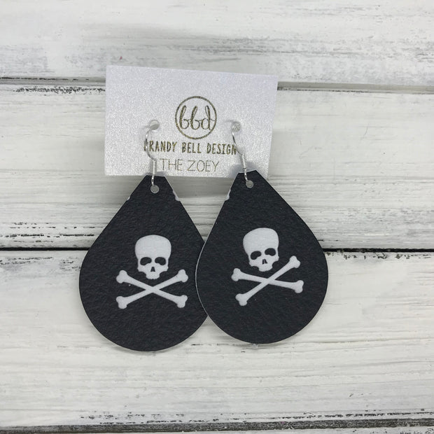 ZOEY (3 sizes available!) -  Leather Earrings  ||   SKULL & CROSSBONES