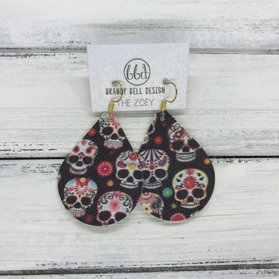 ZOEY (3 sizes available!) -  Leather Earrings  ||  SUGAR SKULLS (FAUX LEATHER)