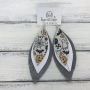 INDIA - Leather Earrings   ||  <BR>   HALLOWEEN PATTERN (FAUX LEATHER),  <BR>  MATTE WHITE,  <BR> SHIMMER GRAY