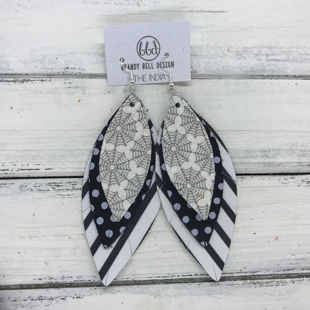 INDIA - Leather Earrings   ||  <BR>  GLITTER SPIDER WEBS (FAUX LEATHER),  <BR>   BLACK & WHITE POLKADOTS,  <BR> BLACK & WHITE STRIPES