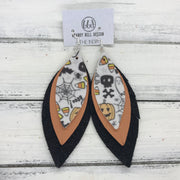 INDIA - Leather Earrings   ||  <BR>  HALLOWEEN PATTERN (FAUX LEATHER),  <BR>   MATTE PEACH,  <BR> SHIMMER BLACK